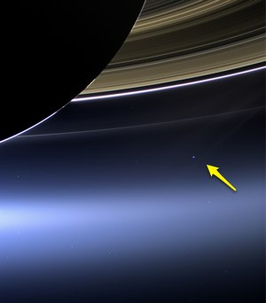 Saturn  blue dot arrow