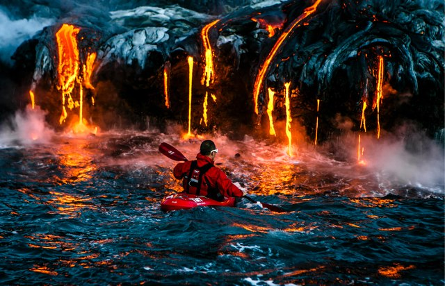 Lava kayaker
